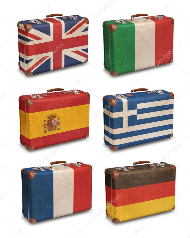 Download - Vintage suitcases with European flags on white — Stock Image #118417558