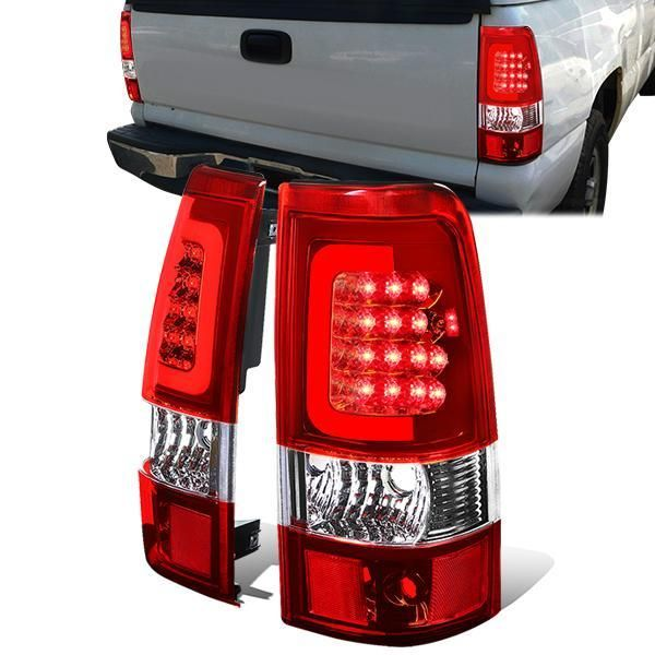03 07 Chevy Silverado Gmc Sierra 1500 2500 3500 Hd Red C Bar Led Tail Lights Chevy Silverado Tail Light Gmc Sierra 1500