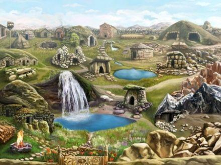 Stone Steppe Location - Stone, Art, Fantasy, Digital, Waterfall, Stone Art, Digital 3d, Fantasy Waterfall