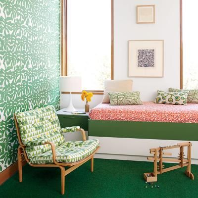 155 best images about decorating with green on pinterest for Bright wallpaper for living room