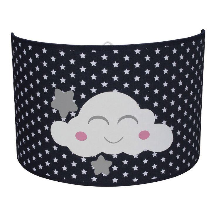 Wandlampje wolkje donkerblauw wolkje met roze wangetjes, ook verkrijgbaar met blauwe wangetjes. Kinderkamerverlichting marine blauw jongenskamer wolkjes wolken wolk kinderkamer babykamer