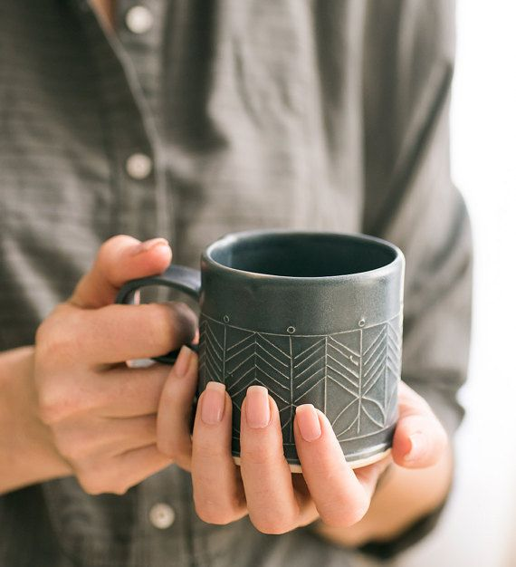 black Porcelain Mug , Porcelain Coffee Cup , Modern Ceramic Cup, Black Tea Cup , Holiday gift