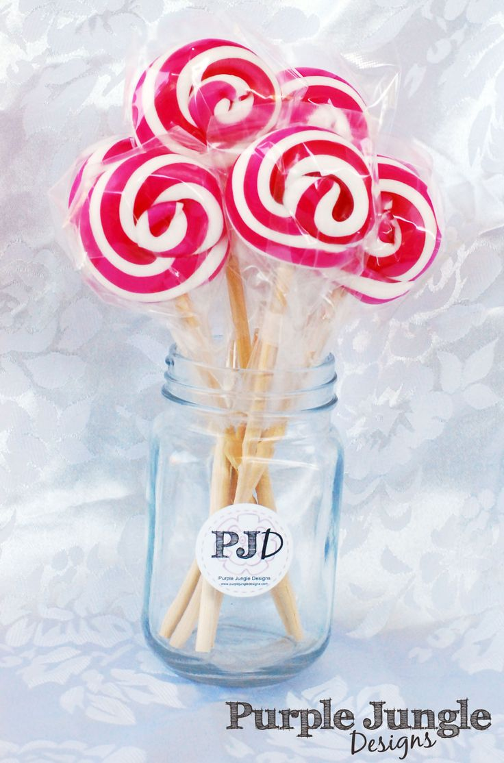 Hot Pink and White Swirl lollipops