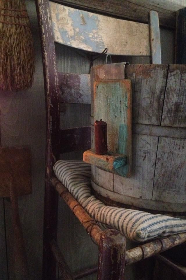 Old wood blue paint bucket candle holder at Sweet Liberty Homestead
