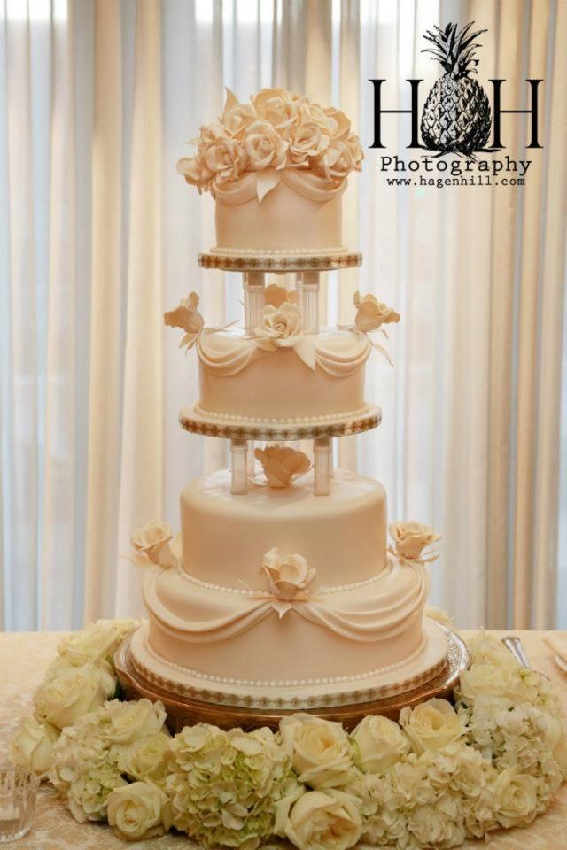 Superb Elegant Ivory Wedding Cake With Fondant Flowers. | Kansas City Wedding Cakes  |