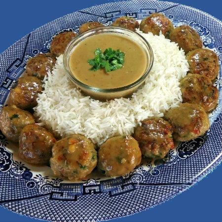 Asian-Style Chicken Meatballs with Peanut Sauce