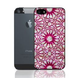 Mother of Pearl iPhone 5S / 5 Case with Hot Pink Sunflower Design