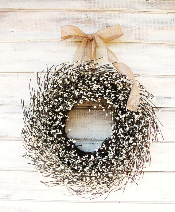 Christmas Wreath-Winter Wreath-BURLAP & ANTIQUE WHITE Door Wreath-Holiday Wreath-Year Round Wreath-Housewarming Gift-Wedding Decor-Gifts