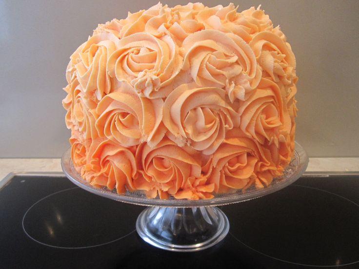 Orange buttercream rose cake