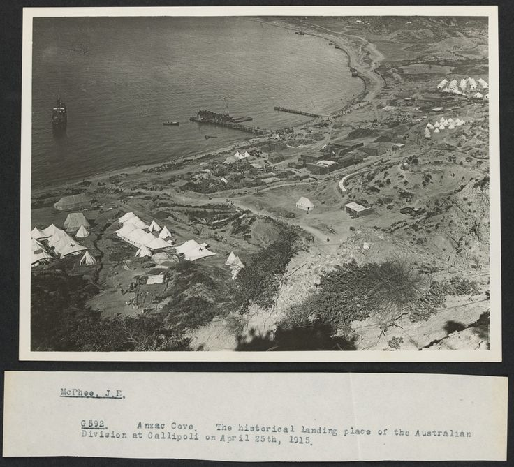 Aireal view of Anzac Cove , April 25th , 1915.