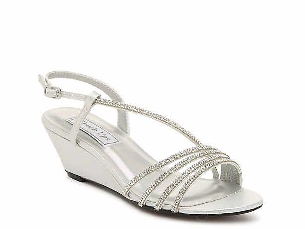 Women S Silver Low Heel 1 2 Evening Wedding Wedge Sandals