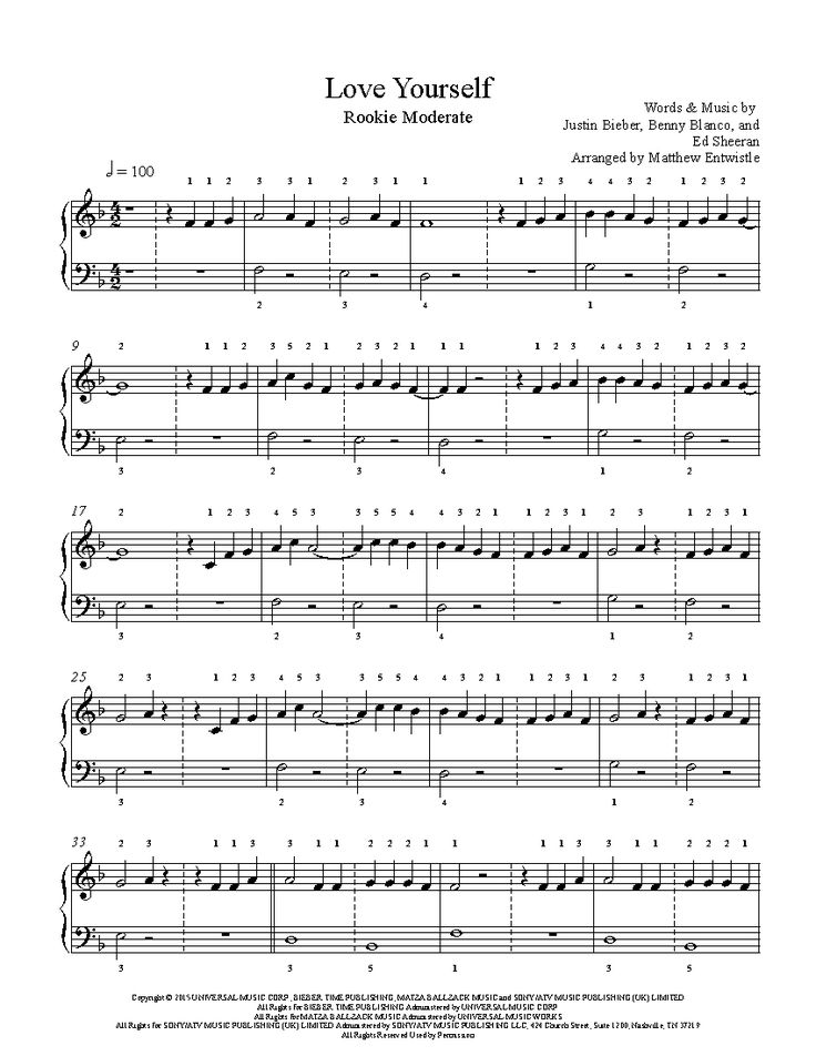 Love Yourself By Justin Bieber Piano Sheet Music Rookie