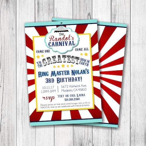 Carnival Birthday Invitation – Circus Birthday Party Theme – Come one, Come All – Boy – Girl – Twins – Siblings – Birthday Party Invitation – Double Sided –