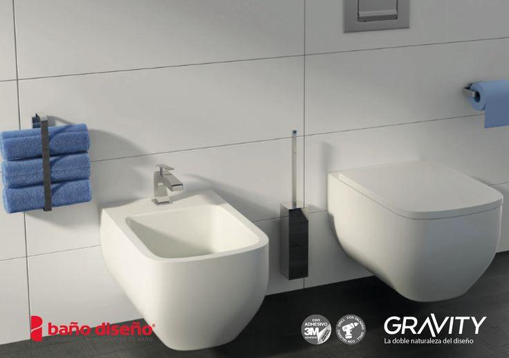 Foto ambiente de #baño con colección de #accesorios de baño #Gravity.
