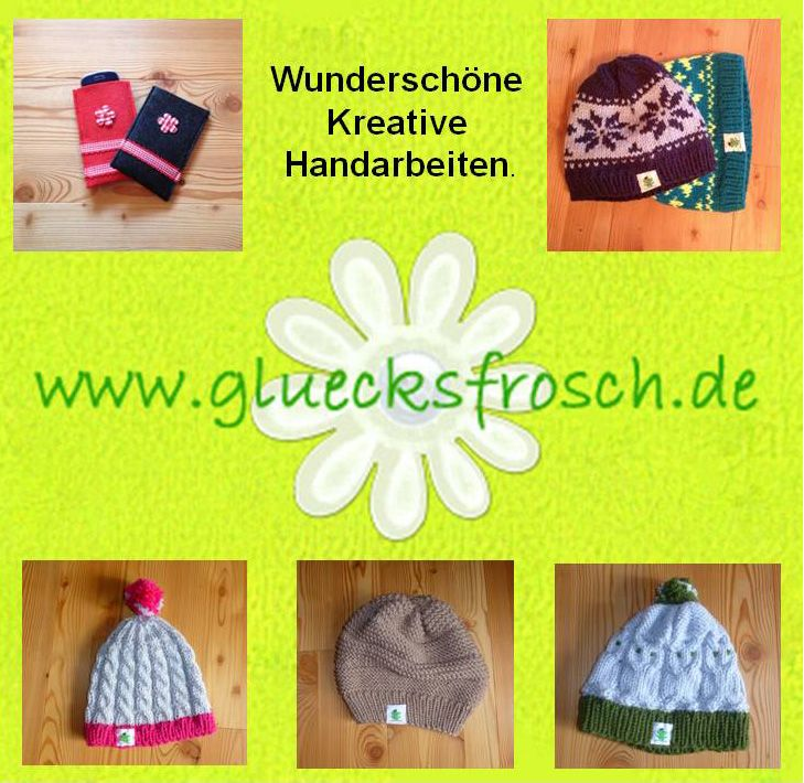 www.glucksfrosch.de Handarbeiten Mützen Handyhüllen Iphonhüllen Landhausdeko Weihnachtsschmuck