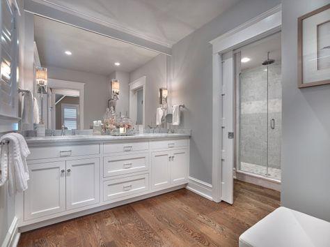 seaside shingle coastal home bathroom paint color is stonington gray hc170 benjamin moore