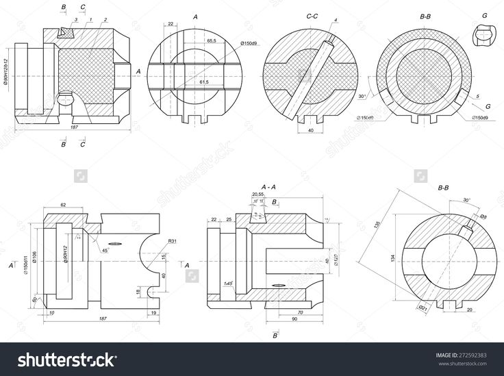 Expanded engineering elements with hatching, lines, angle degrees and numbers. Vector image