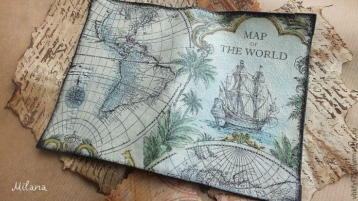 Купить Обложка для паспорта(автодокументов) Карта сокровищ. Кожа, декупаж - обложка на паспорт, обложка для паспорта
