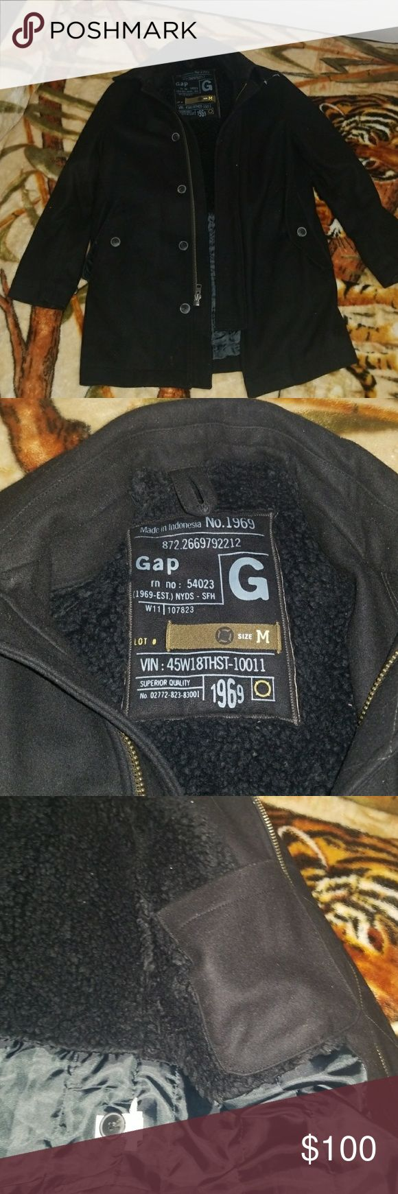 Gap Black long wool coat 80% wool 20% Nylon  Almost new, used only twice. Beautiful long coat by Gap. It is a slim fit. Looks very nice and very elegant. Very warm also. It is not super bulky like most wool coats but it is a bit heavy. Any questions please ask. GAP Jackets & Coats Trench Coats