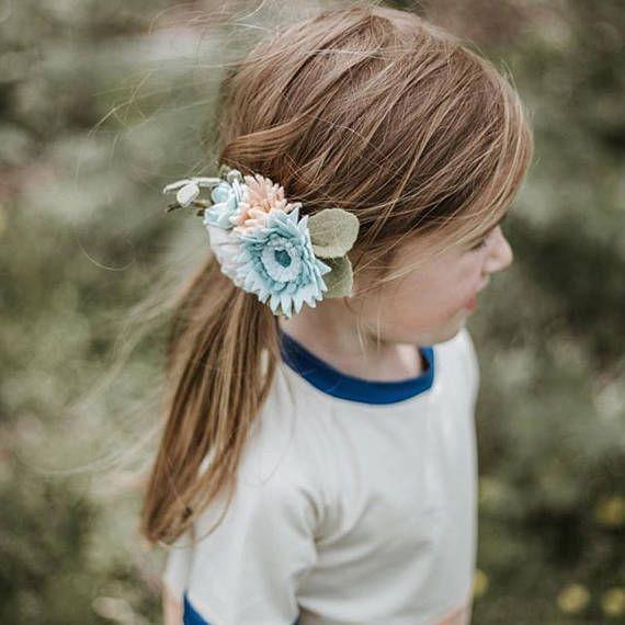 Blue Gerbera Felt Floral headband // Felt Flower mini crown