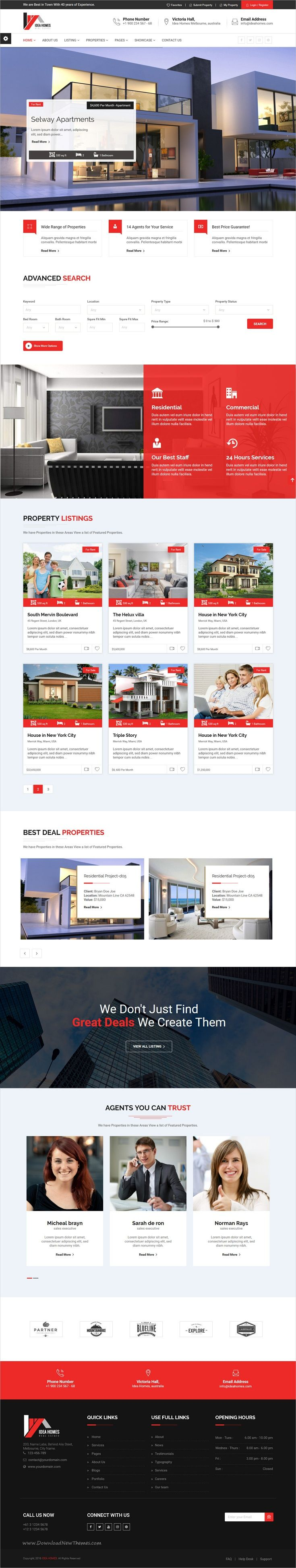 Idea homes Real Estate Bootstrap Template