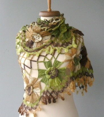 Crocheted mohair shawl. Love the stitches and yarn with long color changes