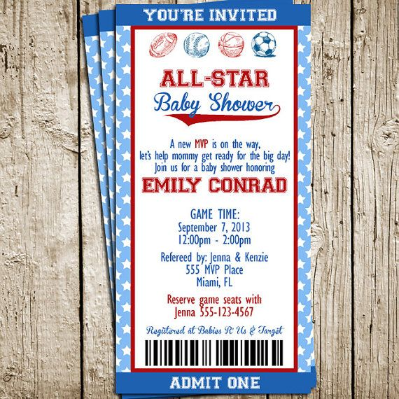 Vintage Sports Baby Shower Printable Invitation | The Pretty Party Shoppe, $12.00