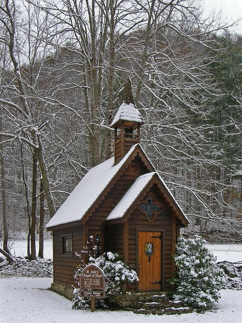 ✟♥ ✞ ♥✟ St Jude's Chapel of Hope in Trust, NC, near Asheville - The 12-foot-by-14-foot structure is full of charm. It's made of cedar and the chapel has stained-glass windows, four small pews, a prayer bench, a shrine to St. Jude, and even a bell in the belfry. A Bible sits open on the bench. Built by Beverly Barutio and her husband after her miraculous recovery from advance-stage cancer - ✟♥ ✞ ♥✟
