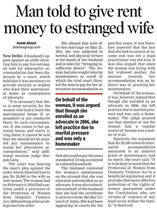 Session's court in Delhi dismissed a husband's plea challengong an order givem by a trail court directing him to pay his estranged wife for alternative accommodation.