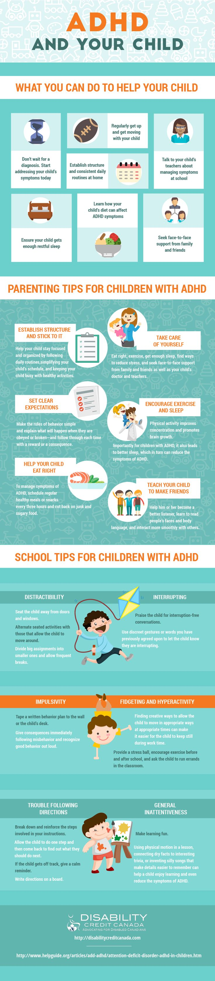 Dealing with kids who have ADHD isn't very common or well-known. They have to be treated with a lot of care and respect. They require special attention and need to be looked after properly. But not a lot of people know what they should be doing and how. Here are a few tips on how one must take care of a child who is suffering from ADHD! Infographic by – Disability Credit Canada