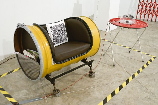 upcycle drum | QR pillow. Upcycled components: 55-gallon industrial container drum ... #FreightCenter