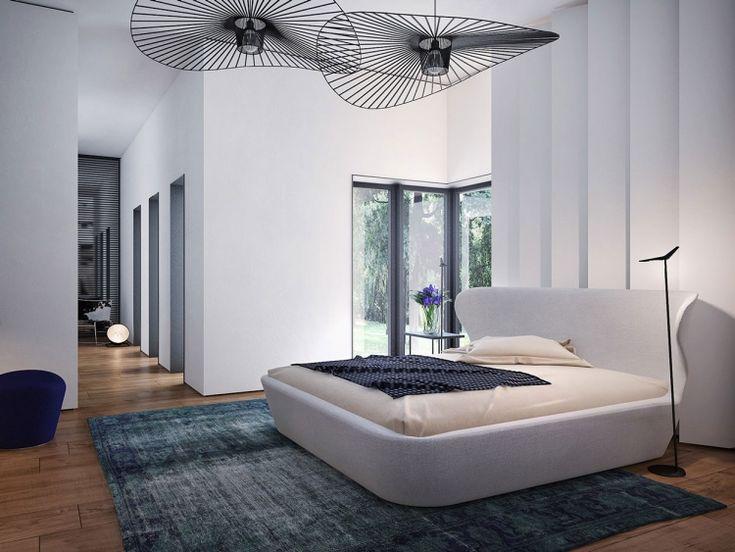 In wei gepolstertes bett und attraktive designerleuchten for Designerleuchten esszimmer