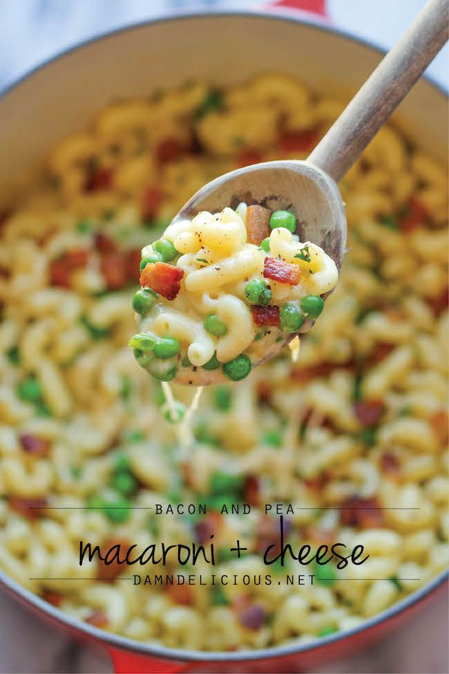 Bacon and Pea Macaroni & Cheese - You'll never guess that this unbelievably creamy, cheesy mac and cheese is actually lightened up!