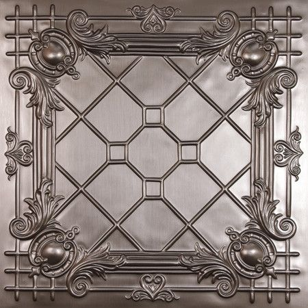 betterthantin.com -- Bentley Faux Tin Ceiling Tile - $18.95 (does this mean they're metal, or a synthetic soft material??)  These terrific faux tin ceiling tiles can be used to replace acoustical tile in a dropped ceiling. They also have nail-up versions. Tiles come in a bunch of different patterns and a few different finishes. Bronze, copper,tin, and paintable white. 2ft. x 2ft.
