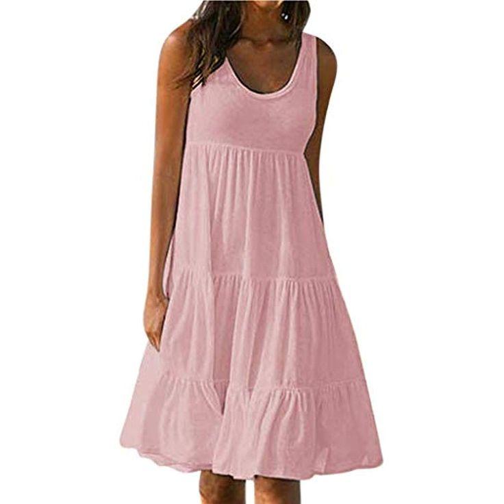 Ansenesna Kleid Damen Sommer A Linie Knielang Elegant Mini Strandkleid Mädchen …