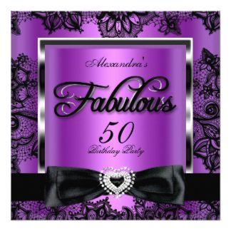Fabulous 50 Party Purple Damask Black Lace 13 Cm X 13 Cm ...