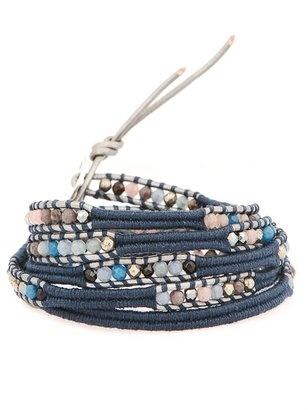 CHAN LUU Blue Mix Wrap Bracelet On Grey Leather