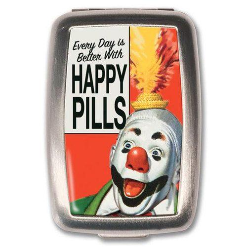 Happy Pills Clown Novelty Pill Box Vitamin Holder