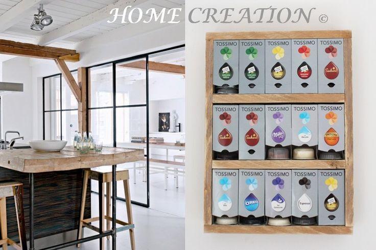 Étagère murale pour boites et capsules Tassimo par HOME CREATION  bois recyclé - style moderne industriel disponible sur mesure et sur commande personnalisée    http://www.alittlemarket.com/boutique/home_creation-1828923.html