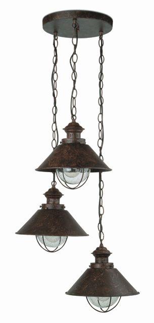 Lámpara Colgante Rústica de tres luces #jardin #iluminacion #lamparas