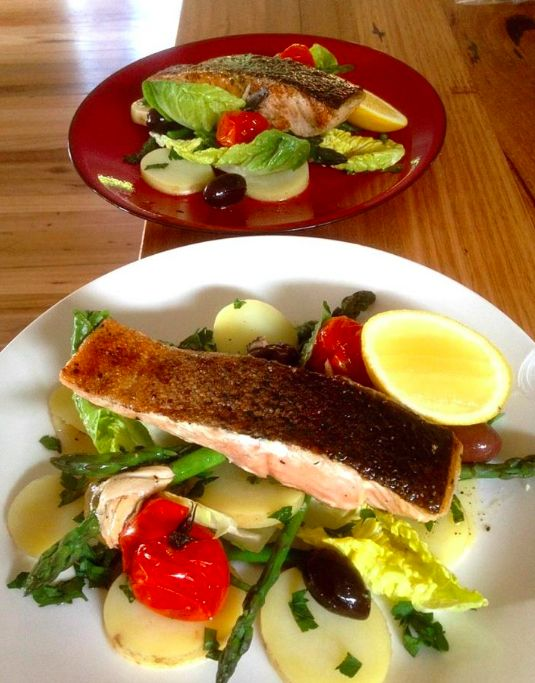 Salmon Nicoise with anchovy dressing