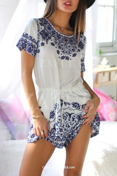 Great Wall Print Blue And White Porcelain Playsuit BLUE: Jumpsuits & Rompers | ZAFUL