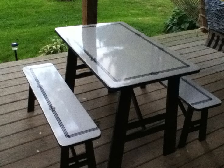 Vintage Enamel Table With Sliding Leaves Turned Into A Picnic Table Benches Proof There 39 S