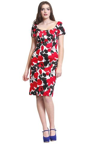 White with Red and Black floral print summer dress