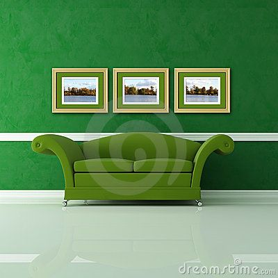 Green interior with three golden frames against stucco wall - the image on wall are my photo (View of Central Park, London)