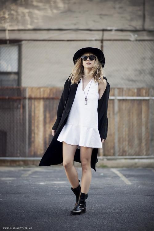 50 Minimalist Fashion Outfits to Copy - wide brimmed hat, drop waist mini dress, + patent leather flat boots