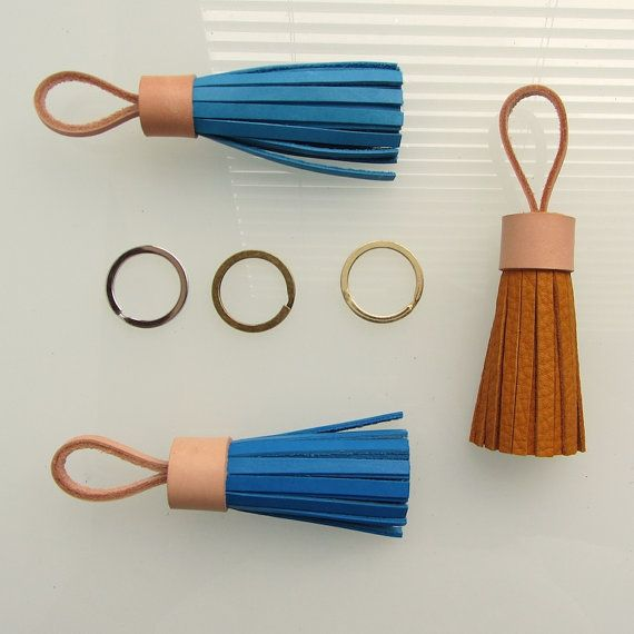 Leather tassel keychain / tassel keyring / leather tassel bag charm in sky blue full grain and nude natural vegetable tanned cow leather.