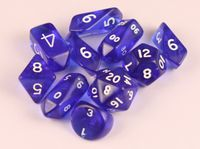 10-Piece Crystal Hybrid Translucent Dice Set - Blue - RPG Board Games