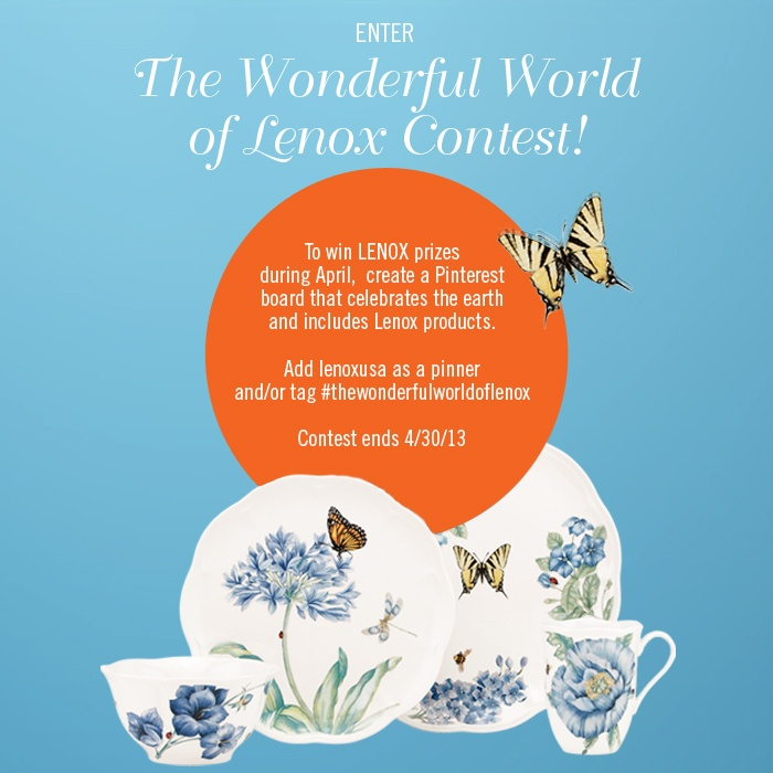 Contest Rules: Add LenoxUSA as a pinner and/or tag #thewonderfulworldoflenox on your board. #Lenox