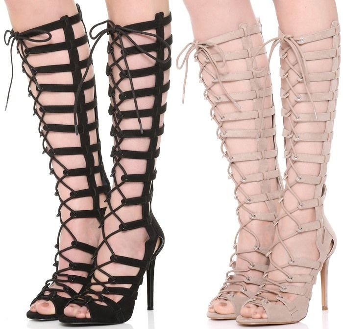 Kendall Kylie Emily Lace-Up Gladiator Heel in Taupe and Black ...